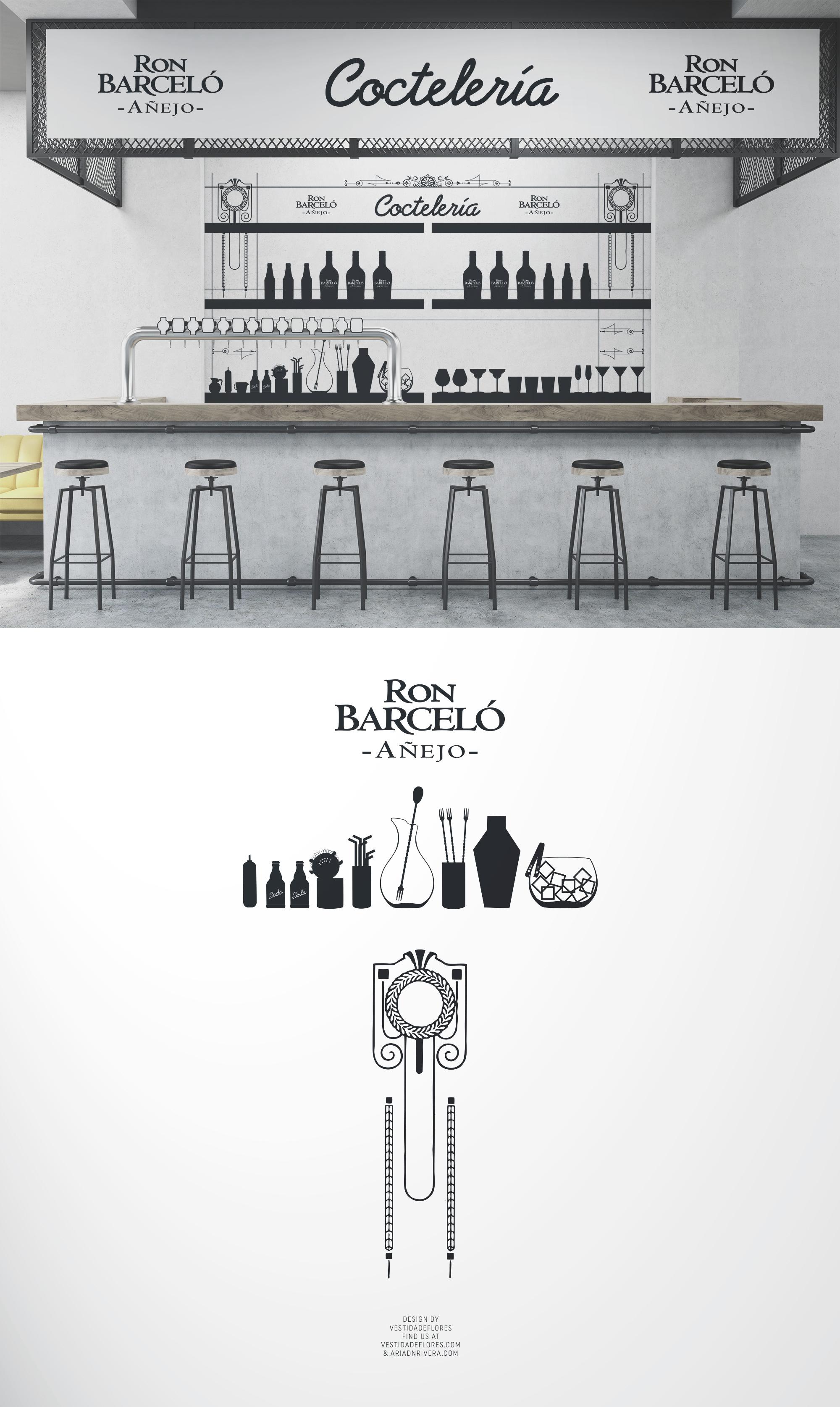 Vestida de flores - Diseño vinilo decorativo para evento Ron Barceló
