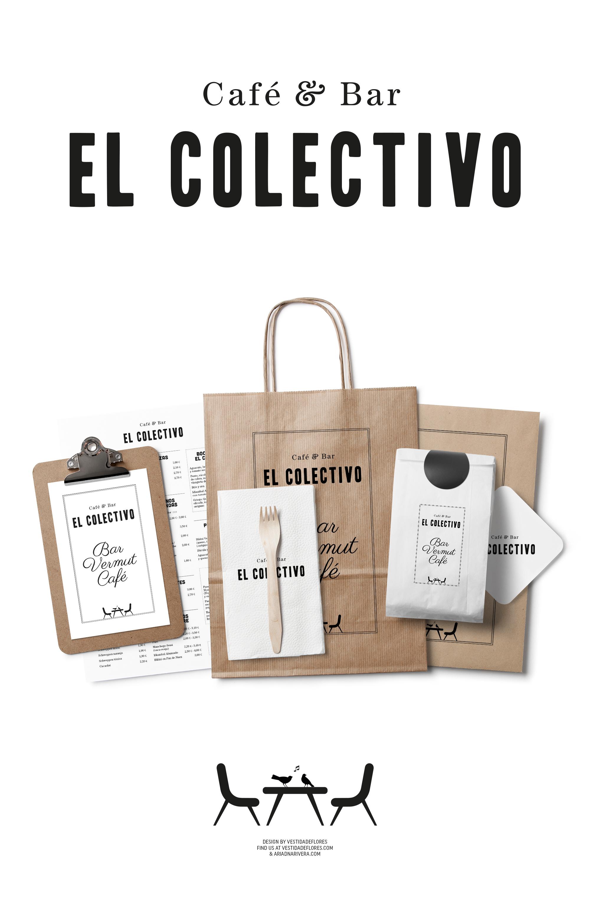 Vestida de flores - Diseño logotipo Café & Bar El Colectivo