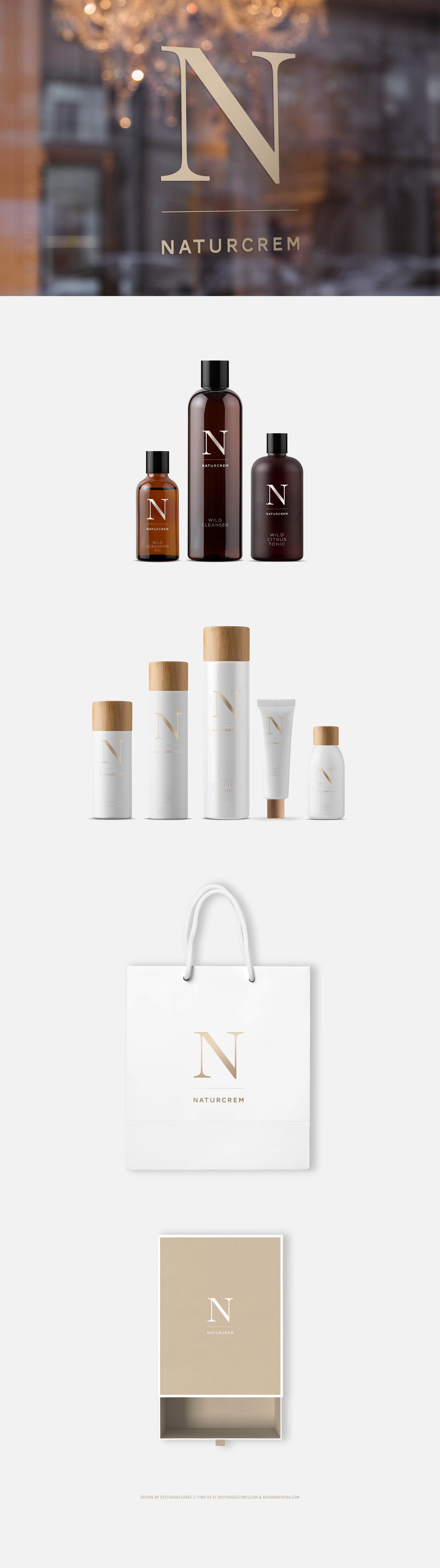 Vestida de flores - Diseño logotipo y packaging Naturcrem