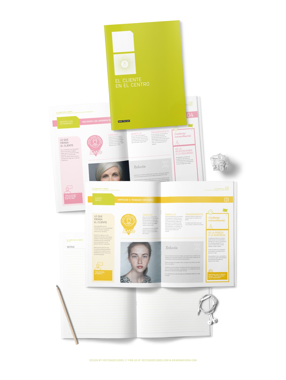 Vestida de flores - Diseño folleto sector banca