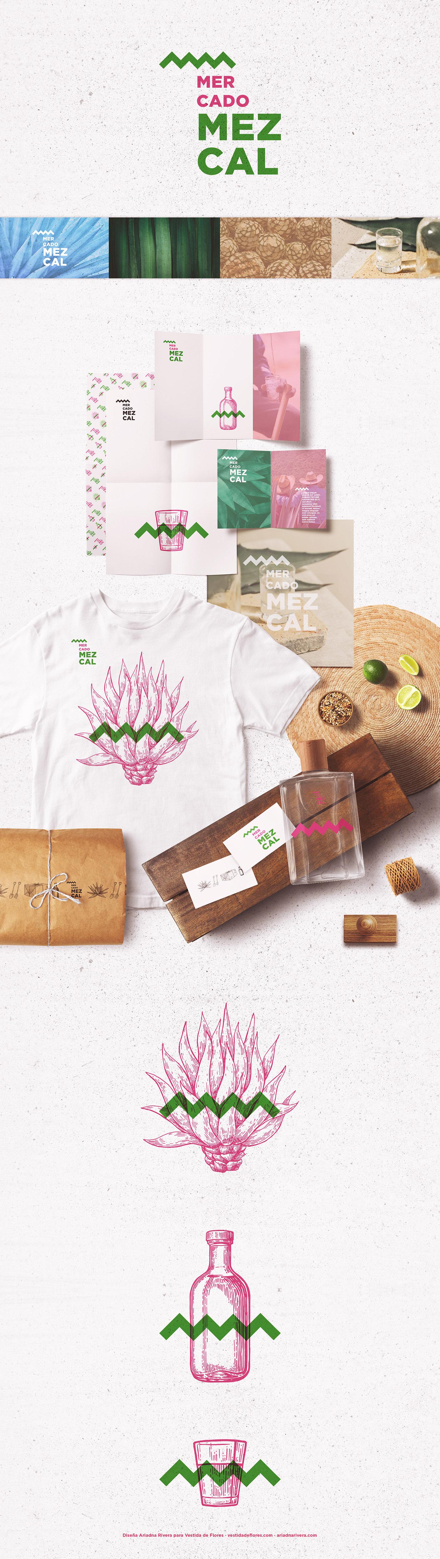 Vestida de flores - Diseño Identidad Corporativa Mercado Mezcal