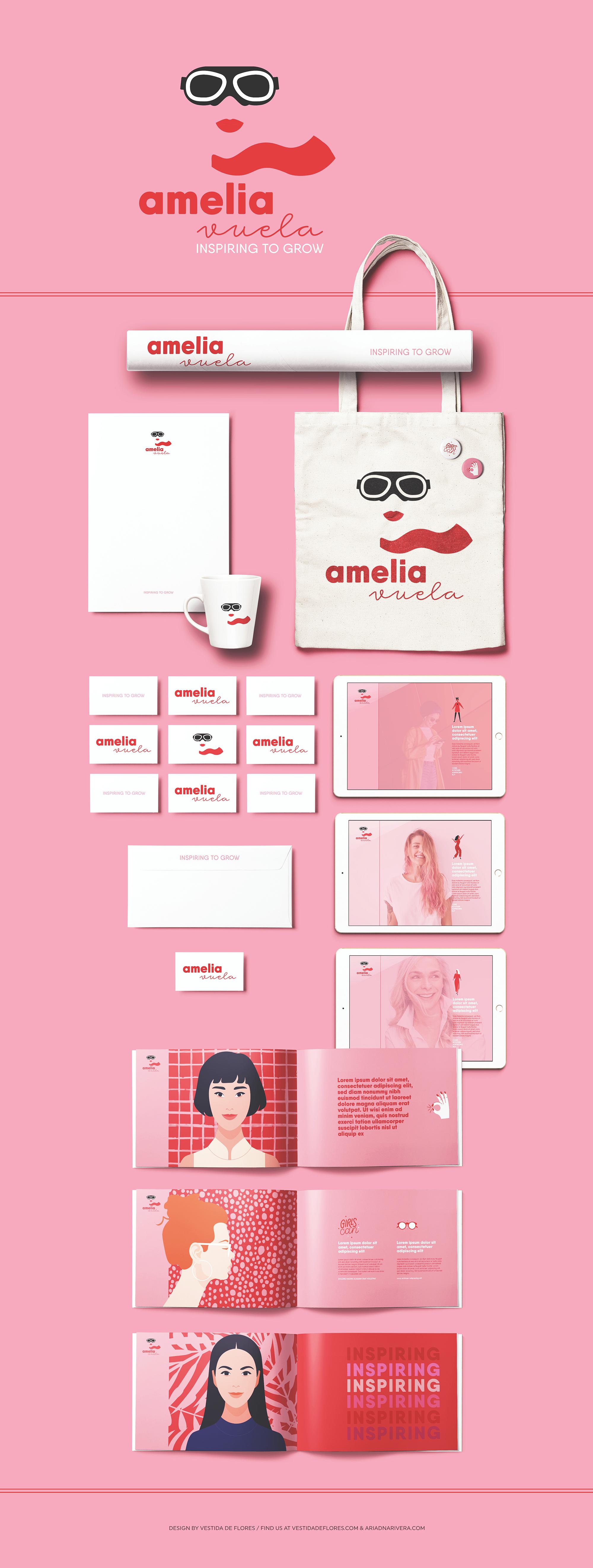 Vestida de flores - Diseño identidad corporativa y logotipo para Amelia Vuela
