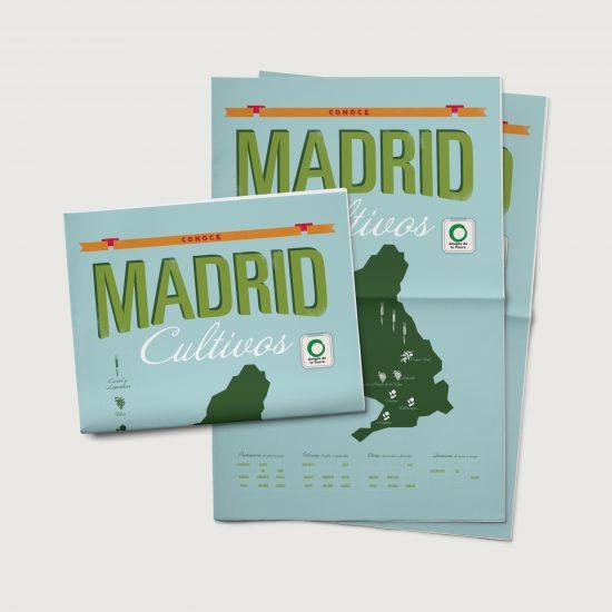 Vestida de flores - Diseño folleto Cultivos de Madrid para Amigos de la tierra