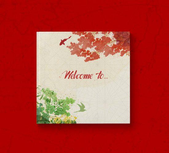 Vestida de flores - Diseño publicación Brand Book restaurante Ikibana